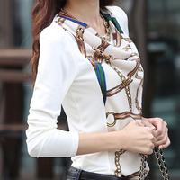 Blusas Femininas 2014 Women Blouse Ladies Casual Long Sleeve New Fashion Chiffon Shirt White Printed Plus Size XXL Tops Blouses