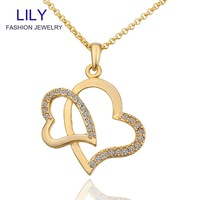 Wholesale Nickle Free Pair of Love Necklace& pendants 18K Real Gold Plated Cristal New Fashion Jewelry For Women N588