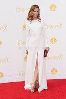 Sexy Side slit Satin Long sleeve Celebrity dresses White elegant emmy award evening dresses vestidos de fiesta WC17