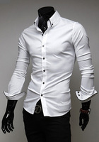 New 2014 Fall And Winter Men Shirts Fashionable City Cultivate One's Morality Solid Color Men Shirts Free Shipping White/Black