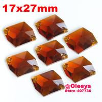72pcs 17*27mm Cosmic Shape Flatback Sew on Rhinestones Tawny 2 holes Sewing Crystal beads Oleeya Brand