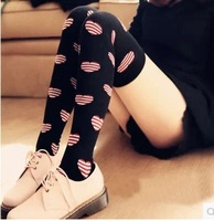 3 color W535 Japanese summer cotton stockings thigh high socks half the love knee socks striped socks College