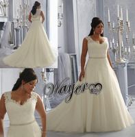 Elegant Custom Made A-line Silky Organza Lace Beaded Belt Vestido de noiva Plus Size Wedding Dress 2014 Popular Style HL-PWD2136