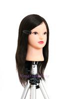 "Professional Training Head Hair For Dye Curl Hairdress 19"" Natural Black 100% Human Hair Training Mannequin Head With Human Hair"