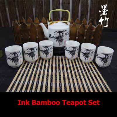 Ink Bamboo Painting Ceramic Kung FuTea pot Set 750ml Teapot 120ml Cup(China (Mainland))