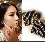 Min.order is $5(mix order) Free Shipping square imitation diamond leopard print stripe black and white Stud earring  (OE0062)