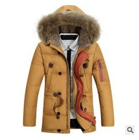2014 new  Men's down jacket In the high pile long heavy hair Men's clothing with thick coat