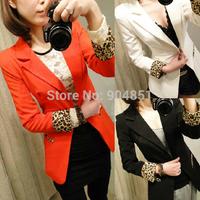 Drop Shipping 2014 New Fashion Women Blazer Leopard Long Sleeve Ladies Casual Jackets Coat Suit Brand Blaser Feminino OL Outwear