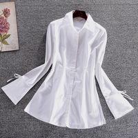 New Exquisite Women White Long Sleeve Turn-down Collar Blouse Autumn Hot Lady Blusas Femininas Tops Free Shipping AL088