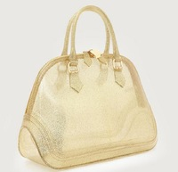 2014 Summer Furly Brand Candy Color Handbag for Women Jelly Beach Bag Gold Lady Tote Bag Shell Women Messenger Bag Black