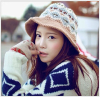 2014 Hot Sale Ladis Fashion Hats & Caps WinterBucket Hats Warm cony hair 4colors Knitted Hat Fedoras Free shipping