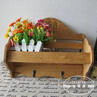 New arrival logs for za kka vintage retro finishing wall shelf coat and hat hook storage rack shelf