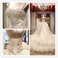 LW22 New Fashion Luxurious Crystal Spaghetti Straps Bridal Ball Gown Cathedral Train Wedding Dresses Vestido de Noiva 2014