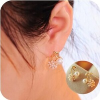 Min.order is $5(mix order) Free Shipping Korean new style small pearl earrings exquisite cherry Stud earrings (OE0301)