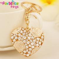 Hollow Love Heart Flower Key Chain Ring Fashion Crystal Trinket Metal Keychain for Women Gift Bag Phone Charm Pendant Jewelry