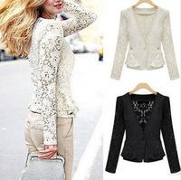 2014 New Brand Lace Blazer For Women Vintage Elegant Single Button Casacos Femininos Slim Hollow Out Summer Women Work Wear