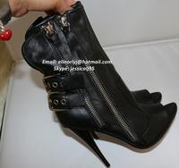 2014 Sexy Women Double Buckle Zipper HIgh Heel Biker Peep Toe Ankle Bootie