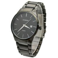 Curren Brand Men's Black Tungsten Steel Analog Quartz Watch Wristwatch With Auto Date Free Shipping 8106