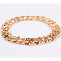 "Fashion 18k yellow gold filled mens or womens bracelet&bangles solid link chain GF jewelry 7.48""10MM"