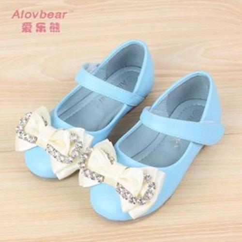 Hot nova moda primavera crianças sapatos de couro microfibra grosso Velcro bowknot menina sapatos(China (Mainland))