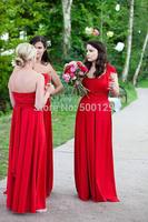 vestidos para madrinhas 2014 Charming A-Line Sleeveless Formal Long Red Convertible Bridesmaid Dress To Party