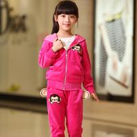 Children's clothing autumn 2014 child velvet sports casual 2 piece set female child set