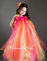 Hot Pink Mix Orange Flower Girl Dress Floor-Length Girl Flower Tutu Dress For Wedding Party  Size 2T-10Y