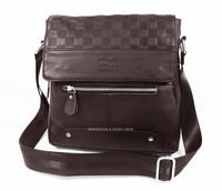 Men's Genuine Natual Cow Leather 100% Vintage Style Shoulder bag Dark Brown_M206D
