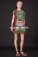 New 2014 autumn winter women fashion mini print studded rivets dress casual pu leather floral appliques brand shift dresses