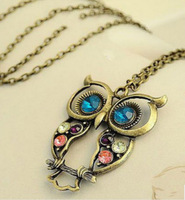 Vintage exquisite Colorful bronze lady Cute Owl Carved Hollow Chain Necklace one