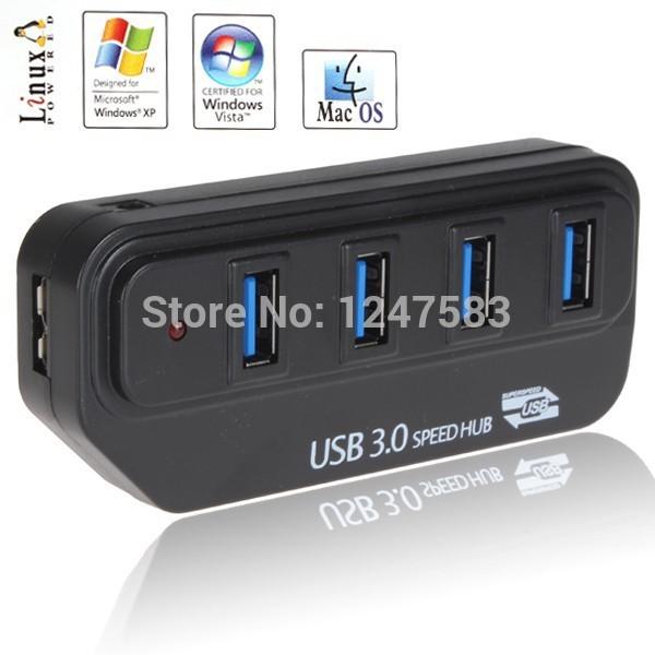 Free Shipping 2pcs/Lot High Quality Super Speed 5Gbps USB 3.0 Hub 4 Ports Plug & Play for Laptop PC Computer(China (Mainland))
