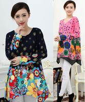 2014 New Fashion Women Printed Winter Dress Plus Size XXL XXXL 4XL Sweater Dresses Women's Wool Cotton Casual Sweaters