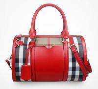 Brand Designer 100% Genuine Leather Handbag Women Bag Plaid Vintage Canvas Shoulder Messenger Bag Zipper Women Tote Bolsas