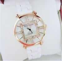 2014 Luxury Women Watches Girl's Casual Watch Fashion Ceramic Dress Watch Rhinestone Wristwatch Princess Bracelet Dropshipping