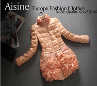 Hot sale new  fashion 2014 Winter Quality Women's Slim  Knitted collar Thicken flower lace Down Jacket 100% duck down