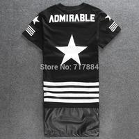 2014 hop tshirt designer brand streetwear zipper lengthen ktz kanye west ADMIRNBLE rhude Bandanna short sleeve tee hood by air