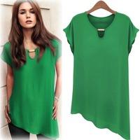 blusas femininas Summer Women Blouse Chiffon Shirt Irregular Bottom Tops For Women Short Sleeve 5 Colors M-2XL Plus Size T48027
