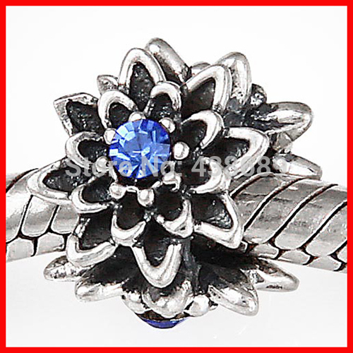 Free shipping hot sale 925 Sterling Silver antique flower with stone charm Beads Fit european Bracelets DIY jewelry(China (Mainland))