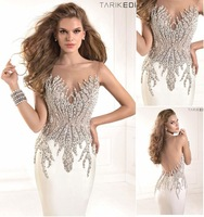 vestido festa formatura Top Quality Mermaid Beaded Crystal Elegant Long White Sheer Prom Dresses Evening Dresses Gowns