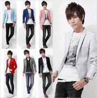 New Arrive Men XL XXL XXXL Solid Color Single Button Leisure Suit Korean Fashion Slim Fit Casual Blazer Red Pink White Blue