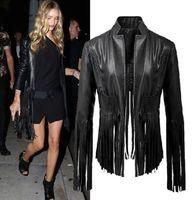 2014 New Autumn Fashion Women Black V neck Faux Leather Tassel Irregular Fringed Cardigan Short Jacket Casual Outwear Blouse Top