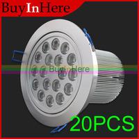 20PCS Energy Saving 18W AC 85-265V 18*1W LED Ceiling Cabinet Recessed Spot Light Lamp Bulb Warm/Cool White Down SpotLight