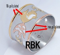 Plated Rose gold and 18k gold couple dolphin 316l stainless steel  bracelets  bangles BG1483005