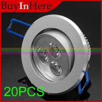 20PCS 3W 3 x 1W Cool/Warm White LED Light Bulb Ceiling Down Spotlight Spot Reces For  Living Room Decoration Lighting 110V 220V