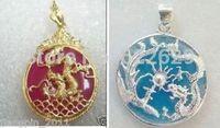 Fancy men jade silver dragon phoenix pendant necklace + Chain wholesale 2pcs Silver hook necklaces Free Shipping