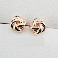 Lovely 18K Gold Classic Design Love Knot Post Stud Earrings Womens Ear Stud