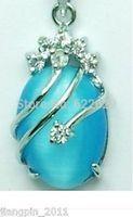 Fancy men Excellent blue Opal necklace Pendant + Chain Ketten wholesale 2pcs Silver hook necklaces Free Shipping