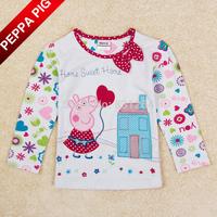 New 2015 Nova Kids Girl Peppa Pig T shirts Baby Girl 100% Cotton Long Sleeves Fashion Girls Flowers Bow T-shirt Children Clothes