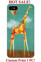 hard cute hand drawing air ballon giraffe animal pattern design print 4 4S 5 5S 5C 6 cover for iphone 5C case giraffe print