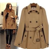 2014 Fashion Female Long Section Woolen Jacket. Cape-style Double-breasted Lapel Overcoat With belt. Women's Winter Warm Coat